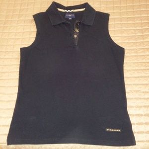 BURBERRY NAVY BLUE SLEEVELESS POLO SHIRT